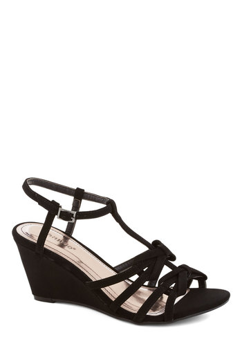 After Hours Happy Hour Wedge - Mid, Faux Leather, Black, Solid, Bows, Party, Wedge
