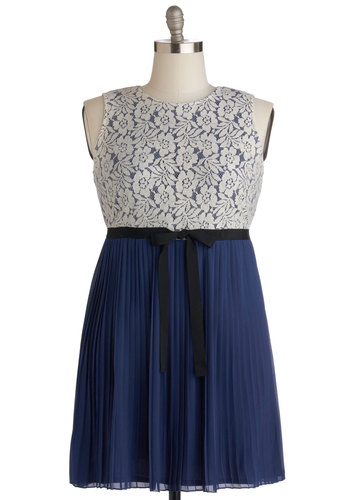 Aspiring Accolades Dress in Plus Size - Knit, Woven, Blue, Black, White, Bows, Lace, Party, A-line, Sleeveless, Good, Crew, Pleats, Prom, Wedding, Bridesmaid