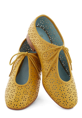 Scout Flat in Mustard by Seychelles - Yellow, Solid, Cutout, Best, Lace Up, Low, Leather, Variation, Casual