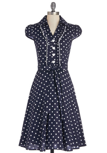 About the Artist Dress in Navy Dots - Blue, White, Polka Dots, Buttons, Ruffles, Belted, Casual, A-line, Cap Sleeves, Good, Collared, Cotton, Woven, Long, Variation, Spring, Top Rated