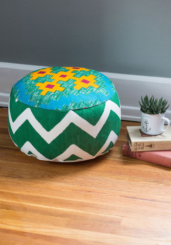 Lake a Vacation Pouf by Karma Living - Cotton, Woven, Green, Boho, Best, Yellow, White, Print, Chevron, Festival, Summer
