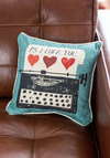 Keys to Your Heart Pillow - Cotton, Woven, Multi, Valentine's, Good, Red, Blue, Tan / Cream, Black, Novelty Print
