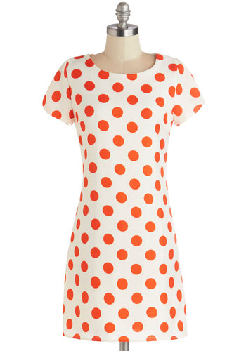 Take a Standout Dress - Polka Dots, Casual, Vintage Inspired, 60s, Shift, Short Sleeves, Good, Scoop, Woven, Mid-length, Orange, Mod, White, Spring, Summer