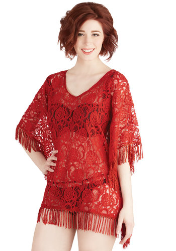 Seaside Lounging Cover-Up Dress in Red - Sheer, Knit, Lace, Red, Solid, Fringed, Lace, Daytime Party, Beach/Resort, Summer, Variation, Boho, Cover-up, Festival, 70s