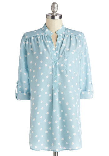 Hosting for the Weekend Tunic in Sky - Woven, Long, Blue, White, Polka Dots, Buttons, Work, Long Sleeve, Spring, Good, Blue, Tab Sleeve, Pastel, Maternity