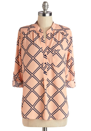 Criss Cross Applesauce Top - Sheer, Woven, Mid-length, Blue, Print, Work, Long Sleeve, Good, Orange, Tab Sleeve, Pink, Buttons, Pockets