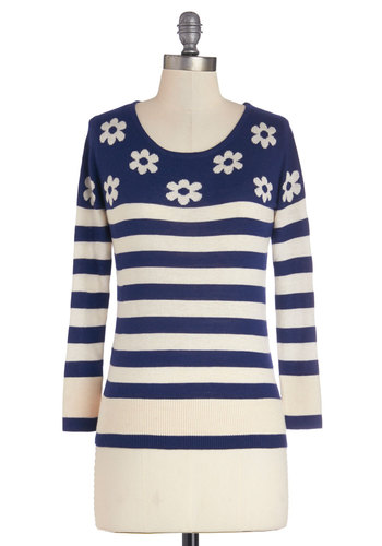 School Daisy Sweater by Yumi - Blue, White, Stripes, Floral, Casual, Better, Knit, Mid-length, Long Sleeve, Scoop, Blue, Long Sleeve