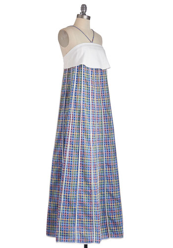 Serene Cityscape Dress - Blue, White, Plaid, Daytime Party, Maxi, Halter, Best, Cotton, Woven, Long