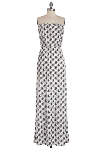 Lively in Lihue Dress - Black, White, Casual, Maxi, Strapless, Good, Knit, Long, Novelty Print, Beach/Resort, Spring, Summer