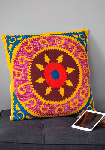 Here and Lair Pillow in Medallion by Karma Living - Cotton, Woven, Multi, Boho, Best, Print, Festival, Summer
