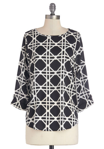 Urban Details Top - Sheer, Woven, Mid-length, White, Print, Work, 3/4 Sleeve, Better, Black, Tab Sleeve, Black
