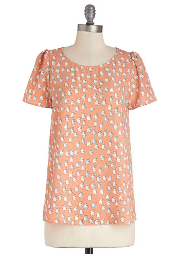 Cats Where It's At Top - Woven, Mid-length, Orange, White, Print with Animals, Cats, Short Sleeves, Spring, Summer, Good, Orange, Short Sleeve, Buttons