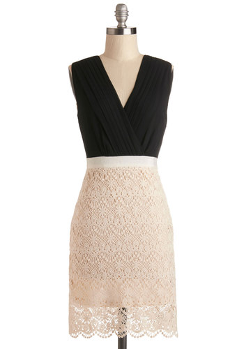 Office Awards Dress - Sheer, Knit, Woven, Mid-length, Tan / Cream, Black, Pleats, Party, Sheath / Shift, Twofer, Sleeveless, Good, V Neck, Cocktail, Lace