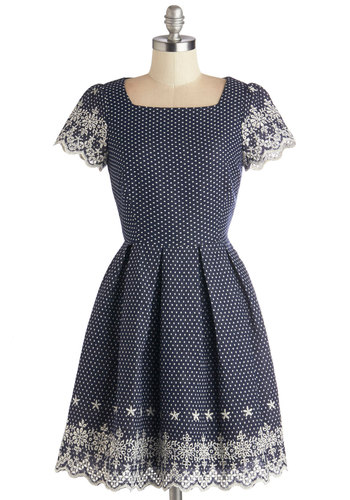 Get to the Grove Dress - Blue, White, Print, Embroidery, Pleats, Scallops, Casual, A-line, Short Sleeves, Better, Cotton, Sheer, Woven, Mid-length, Show On Featured Sale