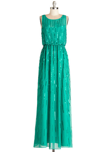 Gown and Country Dress - Chiffon, Sheer, Woven, Long, Solid, Beads, Sequins, Special Occasion, Prom, Wedding, Bridesmaid, Luxe, Maxi, Sleeveless, Best, Green