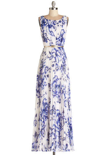 Lunch at the Lagoon Dress - Blue, Floral, Pleats, Belted, Special Occasion, Maxi, Sleeveless, Best, Scoop, Chiffon, Sheer, Woven, Long, White, Spring