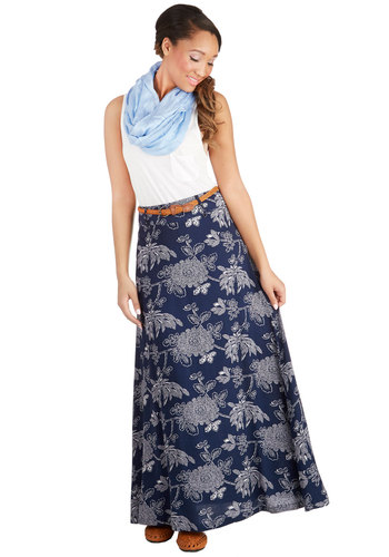 Orchid Garden Skirt in Foliage - Maxi, Good, Blue, Woven, Long, Blue, Floral, Belted, Casual, Boho, Vintage Inspired, 70s, Festival