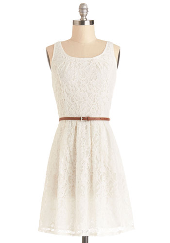 Daydreaming at Daybreak Dress - Knit, Mid-length, White, Solid, Lace, Pockets, Belted, Casual, A-line, Tank top (2 thick straps), Better, Scoop, Lace, Sundress, Summer