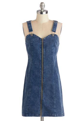 Barbecue Date Dress - Denim, Woven, Short, Blue, Solid, Exposed zipper, Casual, Sheath / Shift, Sleeveless, Good, Sweetheart, Vintage Inspired, 90s