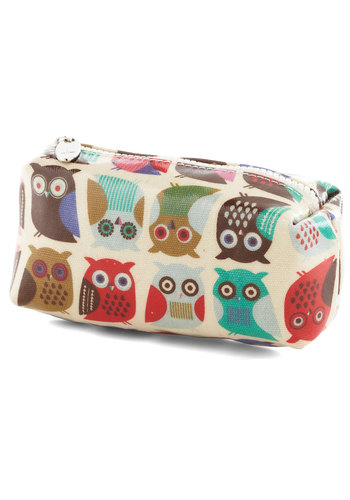 If You Can't Stand the Hoot Makeup Bag - Multi, Owls, Tan / Cream, Print with Animals, Travel, Good, Under $20, Critters, Woodland Creature