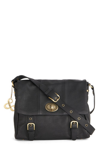 Lesson and Lunch Bag by Ollie & Nic - Black, Gold, Solid, Buckles, Scholastic/Collegiate, Best, International Designer, Leather