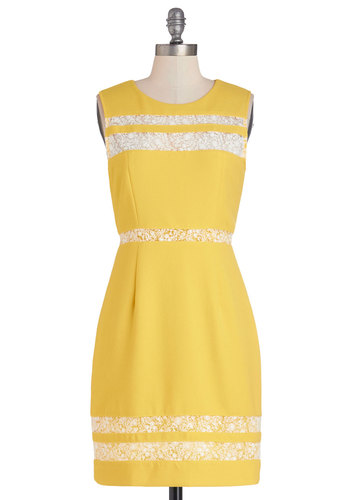 Blogging on Sunshine Dress - Yellow, Solid, Lace, Daytime Party, Sheath / Shift, Sleeveless, Better, Scoop, Sheer, Knit, Woven, Mid-length, White, Work