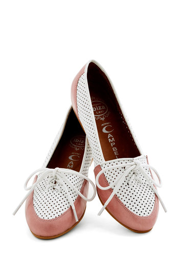 Lovely by the Links Flat in Rose by Jeffrey Campbell - Flat, Leather, Solid, Cutout, Work, Valentine's, Best, Lace Up, Variation, Pink, White, Menswear Inspired, Spring
