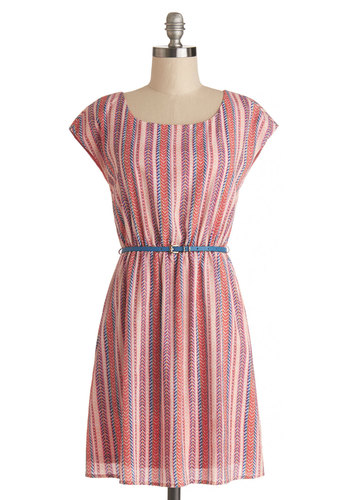 Scoping the Sweet Shop Dress - Woven, Short, Multi, Stripes, Belted, Casual, A-line, Cap Sleeves, Good, Scoop, Pink, Spring, Summer