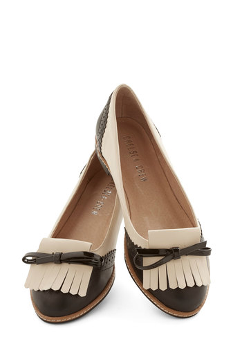 Literature Tour Flat by Chelsea Crew - Leather, Flat, Solid, Bows, Fringed, Menswear Inspired, Vintage Inspired, 20s, 30s, Better, Tan / Cream, Black, Work