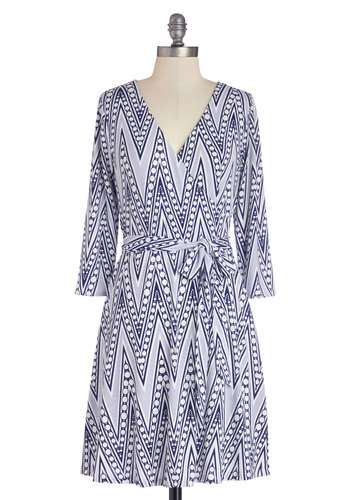 Knowing All the Angles Dress - Sheer, Knit, Mid-length, Blue, White, Print, Casual, A-line, 3/4 Sleeve, Better, V Neck, Belted, Work