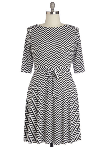 Signature Drinks Dress in Plus Size - Jersey, Knit, Black, White, Chevron, Belted, Casual, A-line, 3/4 Sleeve, Better