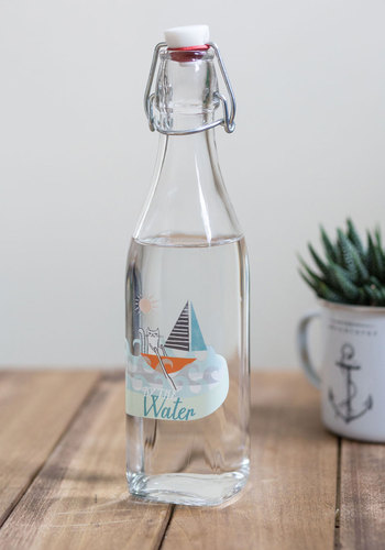 Pour Over the Plans Bottle - Multi, Nautical, Good, Print with Animals, Eco-Friendly, Cats, Summer, Americana, Top Rated