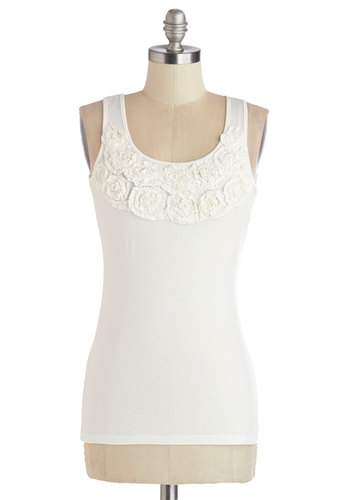 A Rose is a Rosette Top - Good, White, Sleeveless, Knit, Mid-length, White, Solid, Flower, Casual, Spring, Summer, Racerback, Scoop