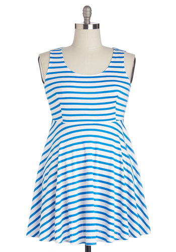Day Off the Grid Dress in Stripes - Plus Size - Knit, Blue, White, Stripes, Casual, A-line, Tank top (2 thick straps), Good, Scoop, Variation, Nautical, Sundress, Cover-up