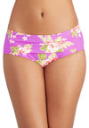 Betsey Johnson Lei in the Sun Swimsuit Bottom by Betsey Johnson - Knit, Purple, Multi, Ruching, Beach/Resort, Summer