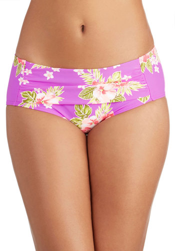 Betsey Johnson Lei in the Sun Swimsuit Bottom by Betsey Johnson - Knit, Purple, Multi, Ruching, Beach/Resort, Summer, Underwire
