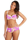 Betsey Johnson Lei in the Sun Swimsuit Top by Betsey Johnson - Knit, Purple, White, Multi, Floral, Trim, Beach/Resort, Summer
