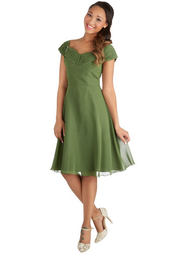 Take a Chanson Me Dress - Wedding, Bridesmaid, Chiffon, Woven, Mid-length, Green, Solid, Pearls, Ruching, Cocktail, A-line, Better, Exclusives, Show On Featured Sale