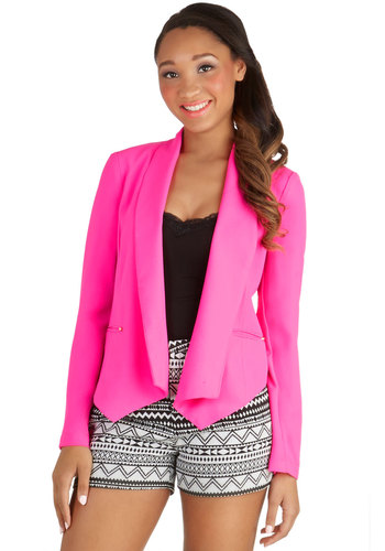 Celebrating Success Blazer - Good, Pink, Long Sleeve, Woven, Short, Pink, Solid, Pockets, Studs, Party, Work, Neon, Long Sleeve, 1
