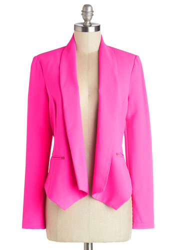 Celebrating Success Blazer - Good, Pink, Long Sleeve, Woven, Short, Pink, Solid, Pockets, Studs, Party, Work, Neon, Long Sleeve, 80s, 1