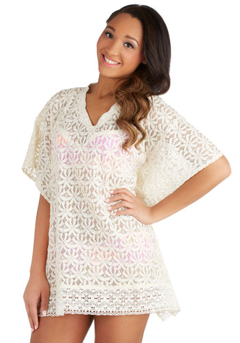 Lace by the Lakeside Cover-Up Dress - Cotton, Sheer, Knit, White, Floral, Lace, Beach/Resort, Short Sleeves, V Neck, Lace, Cover-up, Summer