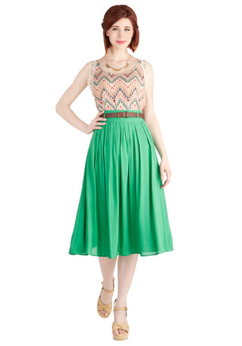 Swish and Spin Skirt in Green - Long, Green, Solid, Casual, Belted, Pleats, Holiday Sale, Basic, Midi, Green, Spring