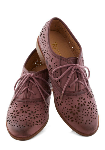Downtown District Flat in Plum by Restricted - Low, Faux Leather, Purple, Solid, Daytime Party, Good, Lace Up, Cutout, Menswear Inspired, Variation