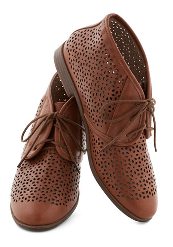Frolic to the Fun Bootie in Brown by Restricted - Low, Faux Leather, Solid, Cutout, Menswear Inspired, Better, Lace Up, Variation, Brown