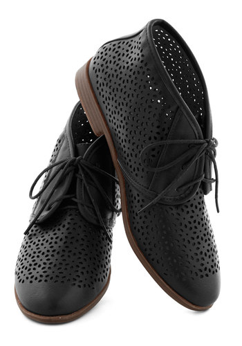 Frolic to the Fun Bootie in Black by Restricted - Low, Faux Leather, Black, Solid, Cutout, Menswear Inspired, Lace Up, Better, Variation