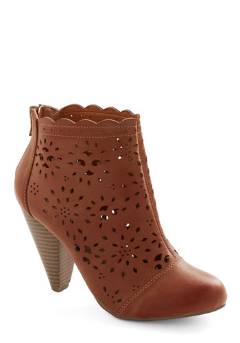 Burst of Beauty Bootie - Solid, Cutout, Scallops, Boho, Better, Mid, Faux Leather, Brown