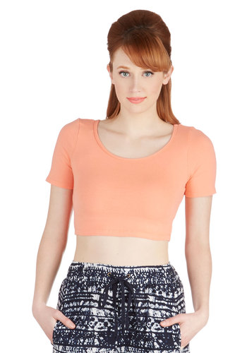On Crop of the World Top in Peach - Jersey, Cotton, Knit, Short, Orange, Solid, Casual, Pastel, Cropped, Short Sleeves, Spring, Summer, Good, Variation, Orange, Short Sleeve, Festival, Fruits