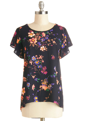 Peppy Positivity Top - Woven, Mid-length, Black, Multi, Floral, Work, Short Sleeves, Spring, Summer, Good, Black, Short Sleeve, Daytime Party