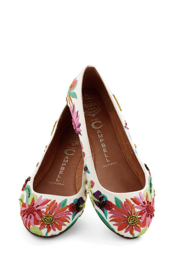 Pretty Petals Flat by Jeffrey Campbell - Flat, Leather, Floral, Embroidery, Daytime Party, Best, Multi, White, Beads, Statement