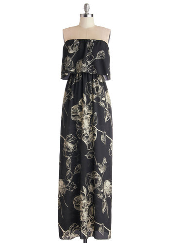 Etch and Every Day Dress - Woven, Long, Black, White, Floral, Casual, Maxi, Strapless, Good, Beach/Resort, Spring, Summer